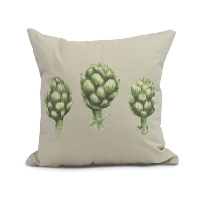 Kaylor Artichoke Indoor/Outdoor Throw Pillow Color: Light Gray/Green, Size: 18 x 18