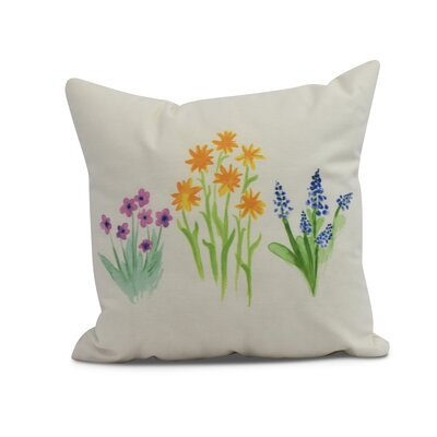 Kaylor Flower Trio Indoor/Outdoor Throw Pillow Color: Yellow, Size: 20 x 20