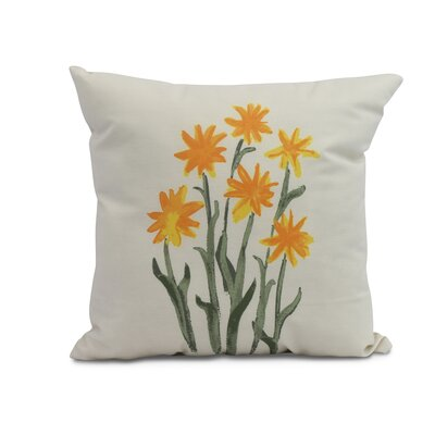 Kaylor Daffodils Indoor/Outdoor Throw Pillow Color: Yellow, Size: 16 x 16