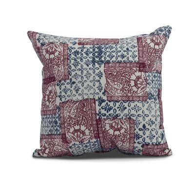 Hirth Patches Indoor/Outdoor Throw Pillow Color: Maroon, Size: 18 x 18