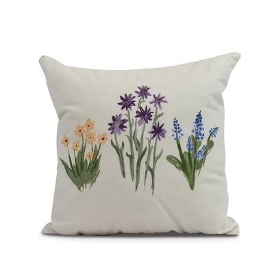 Laymon Flower Throw Pillow Color: Purple, Size: 18 x 18