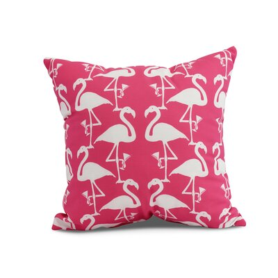 Crosswhite Flamingo Heart Martini Animal Print Indoor/Outdoor Throw Pillow Color: Pink and White, Size: 20 x 20