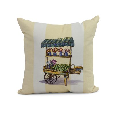 Kaylor Veggie Cart Indoor/Outdoor Throw Pillow Color: Yellow, Size: 18 x 18