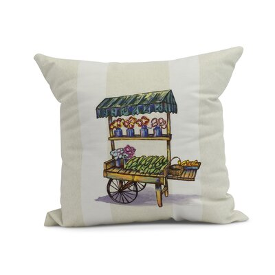 Laymon Veggie Cart Throw Pillow Color: Green, Size: 18 x 18