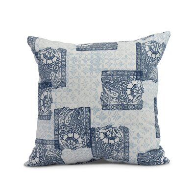 Hirth Patches Indoor/Outdoor Throw Pillow Color: Navy Blue, Size: 20 x 20