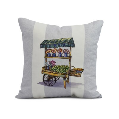 Kaylor Veggie Cart Indoor/Outdoor Throw Pillow Color: Light Blue, Size: 18 x 18