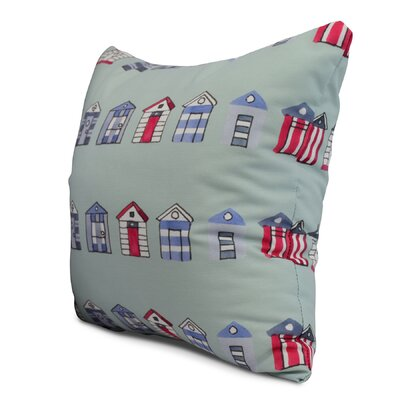 Bryson Beach Hut Throw Pillow Color: Aqua, Size: 26 x 26