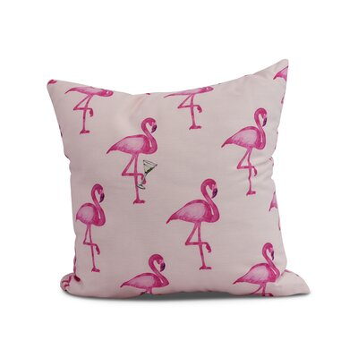 Crosswhite Flamingo Fanfare Martini Animal Print Indoor/Outdoor Throw Pillow Color: Pink, Size: 16 x 16