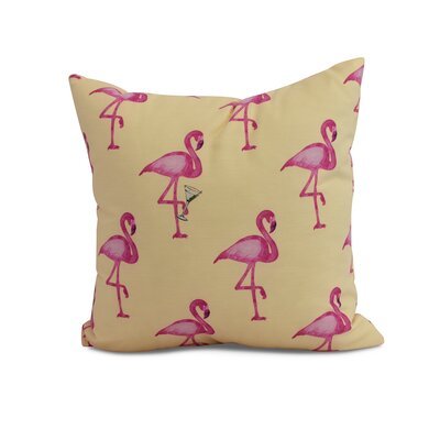 Crosswhite Flamingo Fanfare Martini Animal Print Indoor/Outdoor Throw Pillow Color: Yellow, Size: 20 x 20