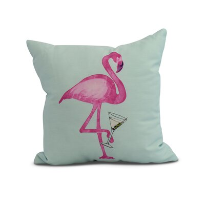 Crosswhite Single Flamingo Indoor/Outdoor Throw Pillow Color: Aqua, Size: 16 x 16