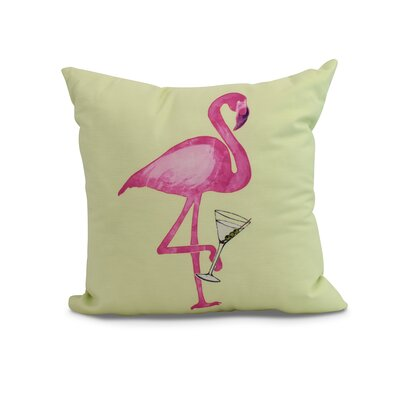 Crosswhite Single Flamingo Indoor/Outdoor Throw Pillow Color: Light Green, Size: 16 x 16