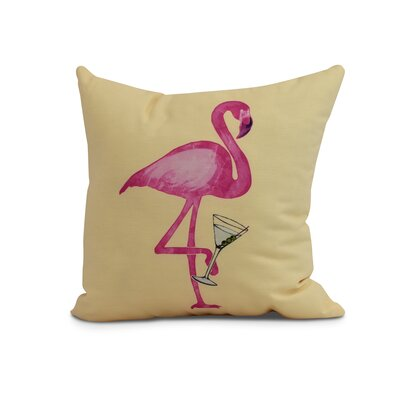Carmack Single Flamingo Throw Pillow Color: Yellow, Size: 18 x 18