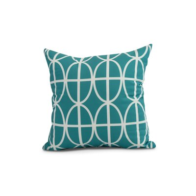 Crosswhite Ovals and Stripes Geometric Print Indoor/Outdoor Throw Pillow Color: Blue, Size: 16 x 16