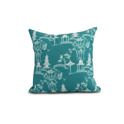 Crader Throw Pillow Color: Blue, Size: 16 x 16