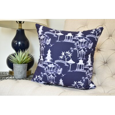 Crader Throw Pillow Color: Navy Blue, Size: 18 x 18