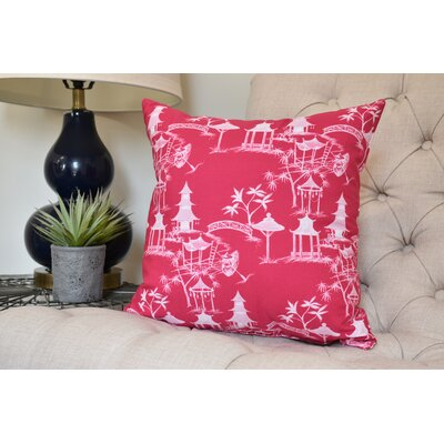 Crader Throw Pillow Color: Pink, Size: 16 x 16
