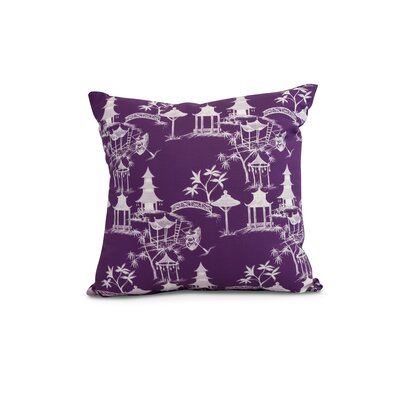 Hirst Chinapezka Print Indoor/Outdoor Throw Pillow Color: Purple, Size: 16 x 16