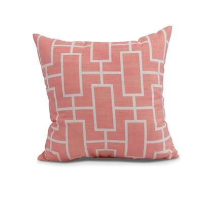 Cawley Lattice Geometric Print Indoor/Outdoor Throw Pillow Color: Coral, Size: 16 x 16