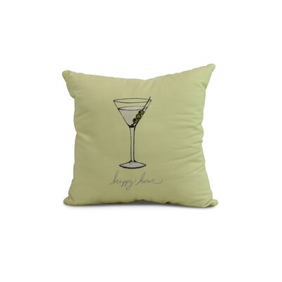 Crosswhite Martini Glass Happy Hour Geometric Print Indoor/Outdoor Throw Pillow Color: Light Green, Size: 18 x 18