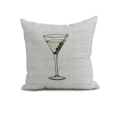 Crosswhite Martini Glass Text Fade Print Indoor/Outdoor Throw Pillow Color: Pale Blue, Size: 18 x 18