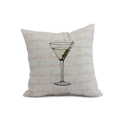 Crosswhite Martini Glass Text Fade Print Indoor/Outdoor Throw Pillow Color: Coral, Size: 16 x 16
