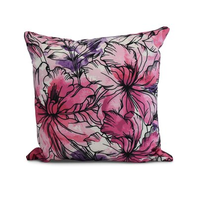 Memmott Floral Print Throw Pillow Color: Purple, Size: 16 x 16
