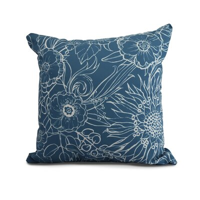 Derick Floral Print Throw Pillow Color: Teal, Size: 18 x 18