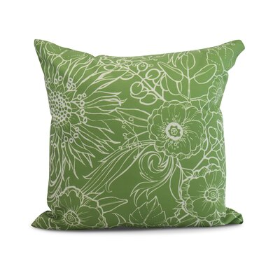 Derick Floral Print Throw Pillow Color: Green, Size: 26 x 26