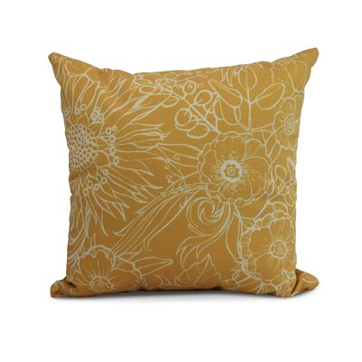 Jarred Floral Print Indoor/Outdoor Throw Pillow Color: Gold, Size: 18 x 18