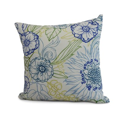 Derick Floral Print Throw Pillow Color: Blue, Size: 16 x 16