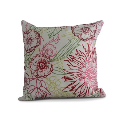 Jarred Floral Print Indoor/Outdoor Throw Pillow Color: Red, Size: 20 x 20