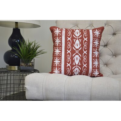 Casto Tile Throw Pillow Color: Red/Orange, Size: 18 x 18