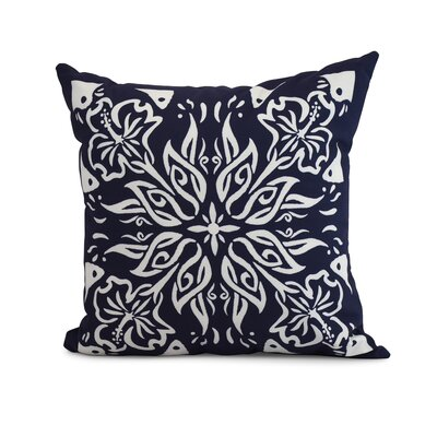 Drucker Tile Throw Pillow Color: Navy Blue, Size: 18 x 18