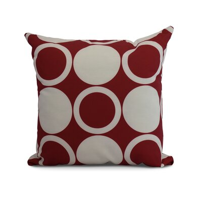 Meekins Mod Circles Geometric Print Indoor/Outdoor Throw Pillow Color: Red, Size: 20 x 20