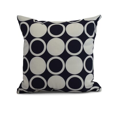 Meekins Small Modcircles Geometric Print Indoor/Outdoor Throw Pillow Color: Navy Blue, Size: 16 x 16