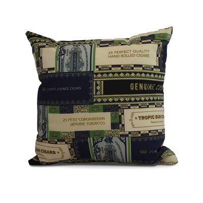 Warriner Cigar Box Collage Geometric Print Indoor/Outdoor Throw Pillow Color: Navy Blue, Size: 20 x 20