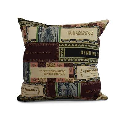 Gasaway Cigar Box Throw Pillow Color: Green, Size: 16 x 16