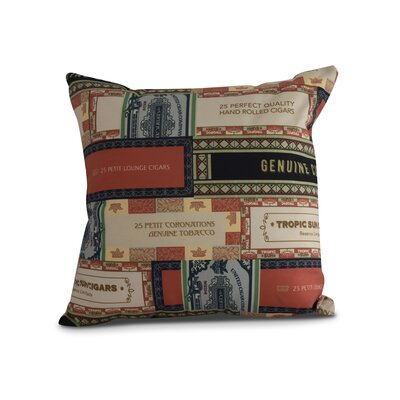 Gasaway Cigar Box Throw Pillow Color: Red/Orange, Size: 26 x 26