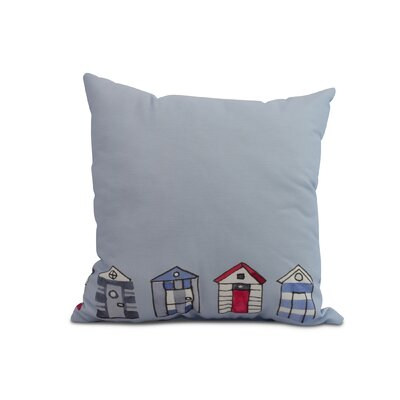 Bryson Beach Huts Print Throw Pillow Color: Light Blue, Size: 16 x 16