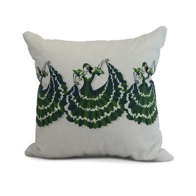 Hirschman 3 Dancers Print Indoor/Outdoor Throw Pillow Color: Green, Size: 16 x 16