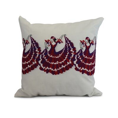 Drucker Dancers Throw Pillow Color: Red, Size: 16 x 16