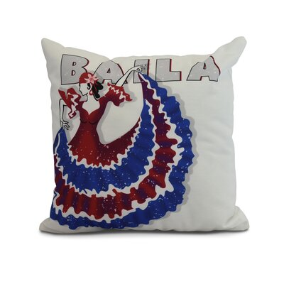 Hirschman Dancer Baila Word Print Indoor/Outdoor Throw Pillow Color: Royal Blue, Size: 16 x 16