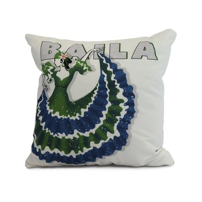 Drucker Throw Pillow Color: Green, Size: 18 x 18