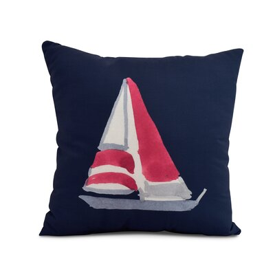 Crider Sail Away Print Indoor/Outdoor Throw Pillow Color: Navy, Size: 20 x 20