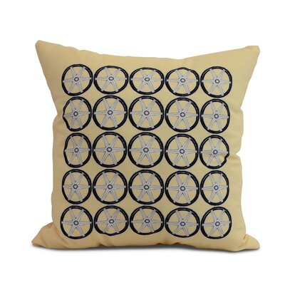 Crider Nautical Geo Square Geometric Print Indoor/Outdoor Throw Pillow Color: Yellow, Size: 16 x 16