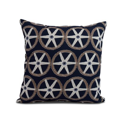 Crider Nautical Geo Lines Geometric Print Indoor/Outdoor Throw Pillow Color: Navy, Size: 18