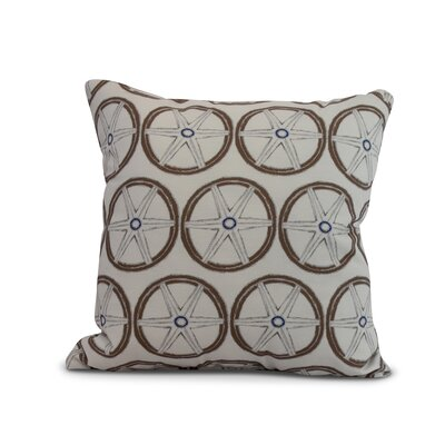 Crider Nautical Geo Lines Geometric Print Indoor/Outdoor Throw Pillow Color: Ivory, Size: 18 x 18