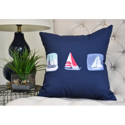 Harriet Print Throw Pillow Color: Navy, Size: 26 x 26