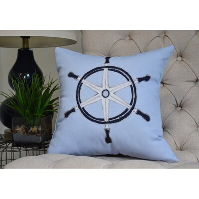 Harriet Ship Wheel Throw Pillow Color: Blue, Size: 26 x 26
