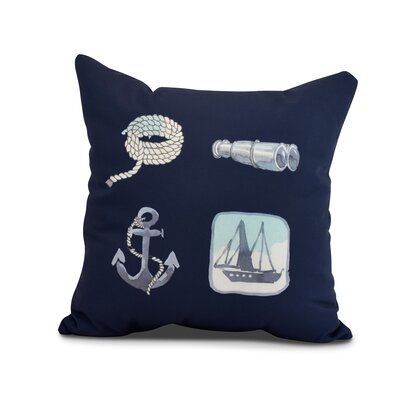Harriet Sea Tools Throw Pillow Color: Navy, Size: 18 x 18